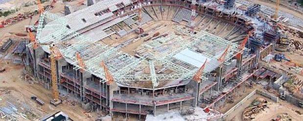 В Нижнем Новгороде продолжается возведение стадиона к ЧМ по футболу